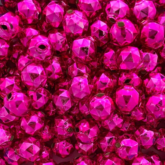 6 Hot Pink Faceted Ball Blown Glass Beads 18mm ~ Czech Republic