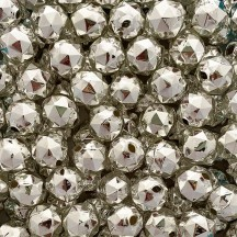 "6 Silver Faceted Ball Blown Glass Beads .875"" ~ Czech Republic"