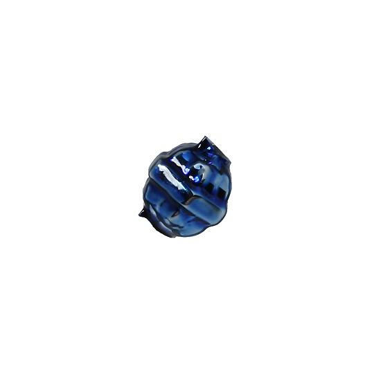 "7 Blue Fancy Banded Round Glass Beads .5"" ~ Czech Republic"