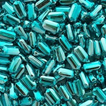 "6 Aqua Emerald Cut Blown Glass Beads .875"" ~ Czech Republic"