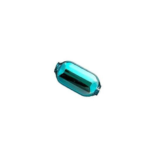 "8 Aqua Emerald Cut Blown Glass Beads .875"" ~ Czech Republic"
