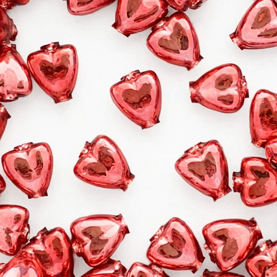 """7 Pink Heart Blown Glass Beads .625"""" ~ Czech Republic"""