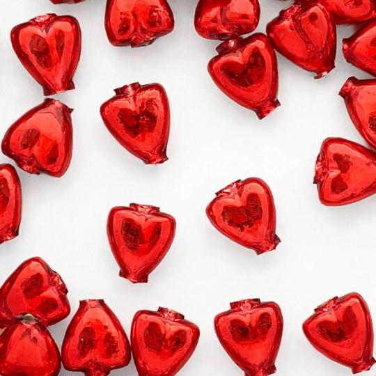 """7 Red Heart Blown Glass Beads .625"""" ~ Czech Republic"""