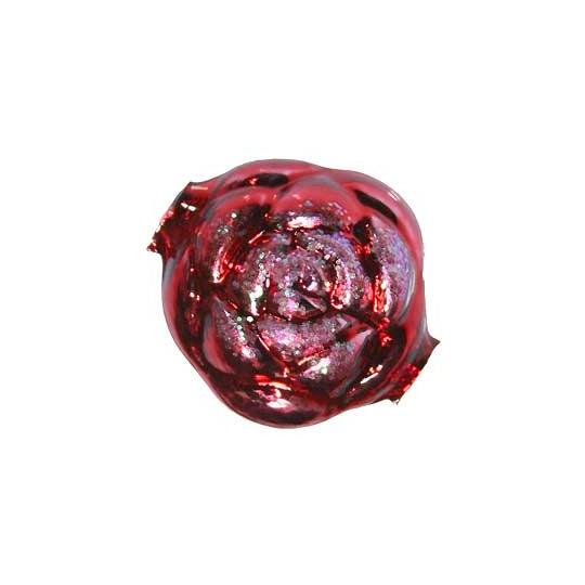 "1 Large Glittered Red Rose Blown Glass Bead 1.5"" ~ Czech Republic"