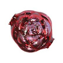 "1 Large Glittered Red Rose Blown Glass Bead 1.5"" ~ Czech Republic"