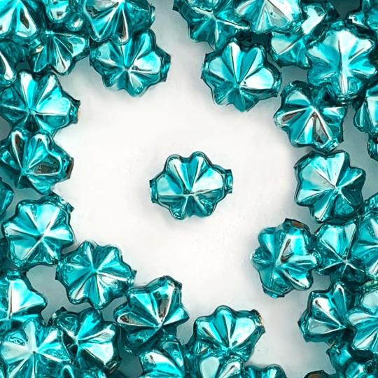6 Aqua Blue 14mm Star Starburst Blown Glass Garland Beads