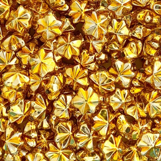 6 Gold 14mm Star Starburst Blown Glass Garland Beads
