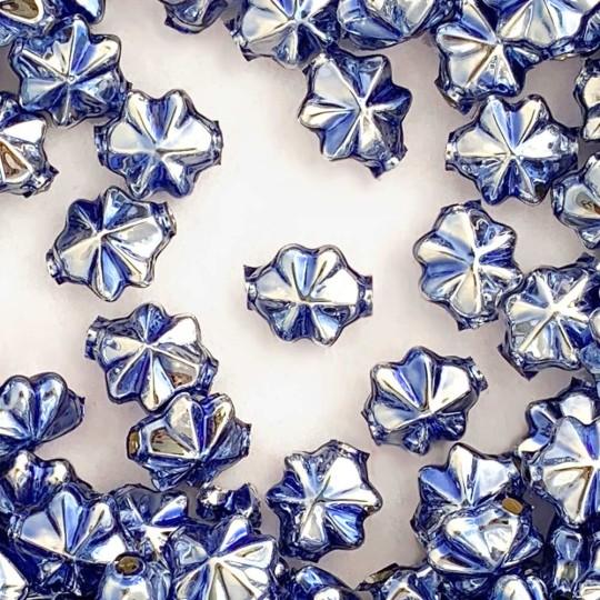 6 Light Blue 14mm Star Starburst Blown Glass Garland Beads
