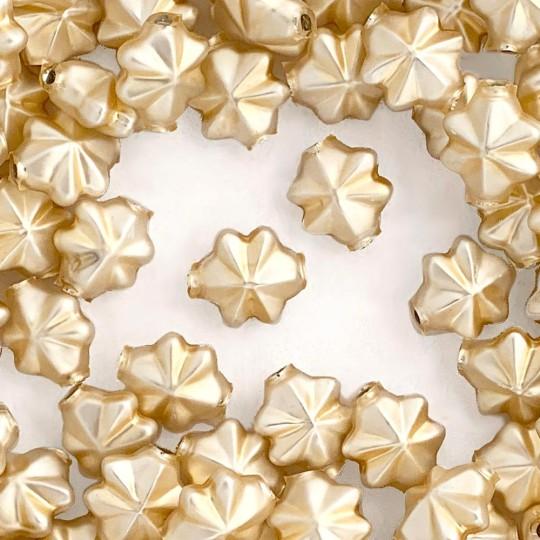 6 Matte Champagne 14mm Star Starburst Blown Glass Garland Beads
