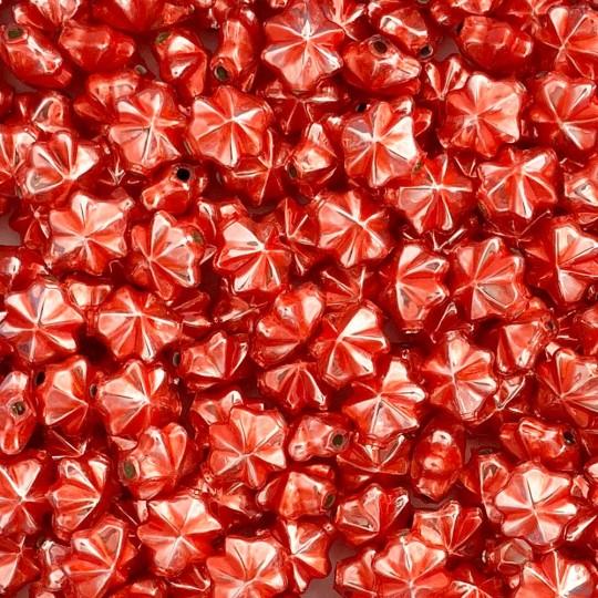 6 Pearl Coral 14mm Star Starburst Blown Glass Garland Beads