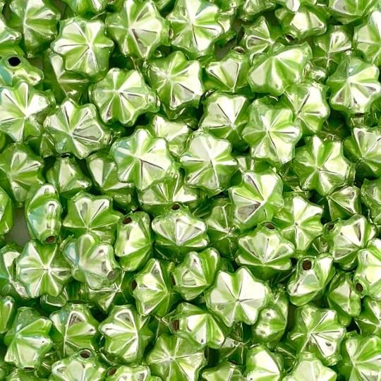 6 Pearl Green 14mm Star Starburst Blown Glass Garland Beads