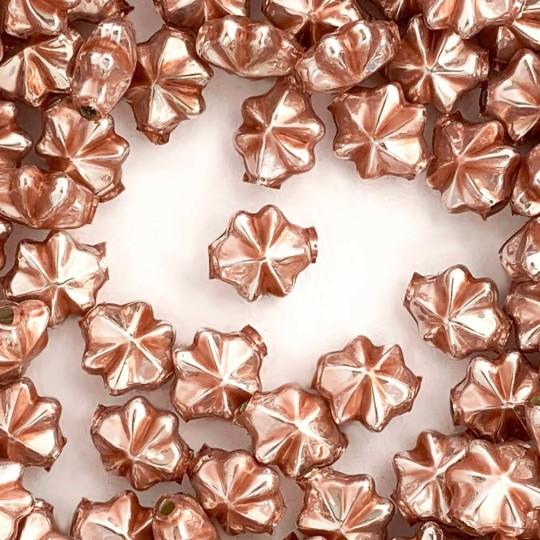 6 Pearl Rose Pink 14mm Star Starburst Blown Glass Garland Beads