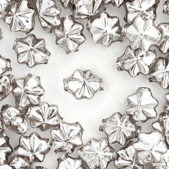 6 Silver 14mm Star Starburst Blown Glass Garland Beads