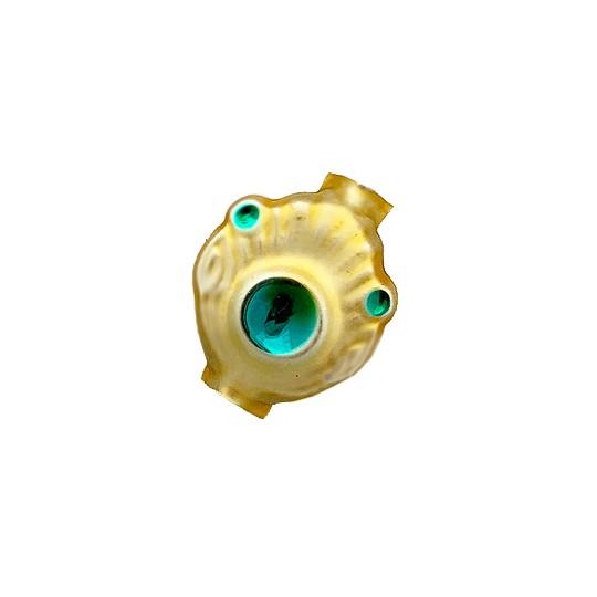 "5 Gold and Aqua Extra Fancy Blown Glass Beads .875"" ~ Czech Republic"