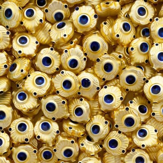 "5 Gold and Blue Extra Fancy Blown Glass Beads .875"" ~ Czech Republic"