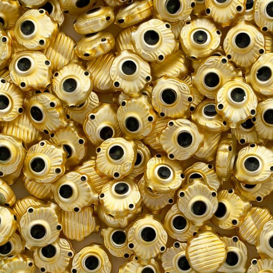 """5 Gold and Darkest Green Extra Fancy Blown Glass Beads .875"""" ~ Czech Republic"""