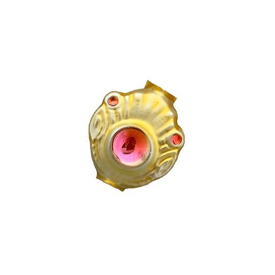"""5 Gold and Light Pink Extra Fancy Blown Glass Beads .875"""" ~ Czech Republic"""