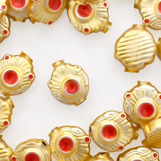 "5 Gold and Pearl Coral Extra Fancy Blown Glass Beads .875"" ~ Czech Republic"