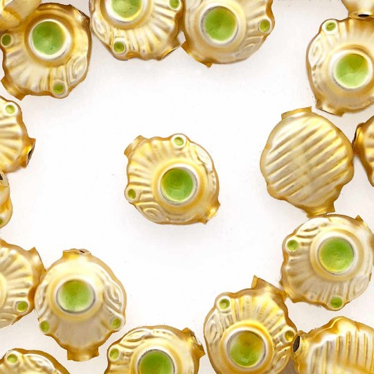 """5 Gold and Pearl Green Extra Fancy Blown Glass Beads .875"""" ~ Czech Republic"""