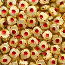 "5 Gold and Red Extra Fancy Blown Glass Beads .875"" ~ Czech Republic"