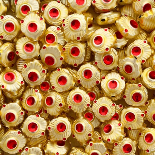 """5 Gold and Red Extra Fancy Blown Glass Beads .875"""" ~ Czech Republic"""