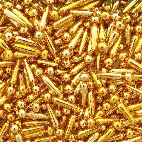 """8 Gold Long Round Drop Glass Beads 1"""" ~ Czech Republic"""