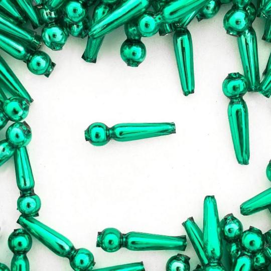 """8 Green Long Round Drop Glass Beads 1"""" ~ Czech Republic"""