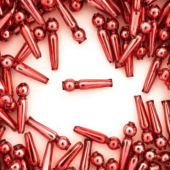 """8 Pink Long Round Drop Glass Beads 1"""" ~ Czech Republic"""
