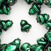 """3 Dark Green Bell Beads 1"""" ~ Czech Republic"""