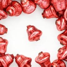 """3 Pink Bell Glass Beads 1"""" ~ Czech Republic"""