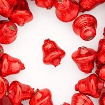 """3 Red Bell Glass Beads 1"""" ~ Czech Republic"""