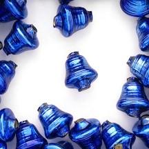 """3 Blue Bell Glass Beads 1"""" ~ Czech Republic"""