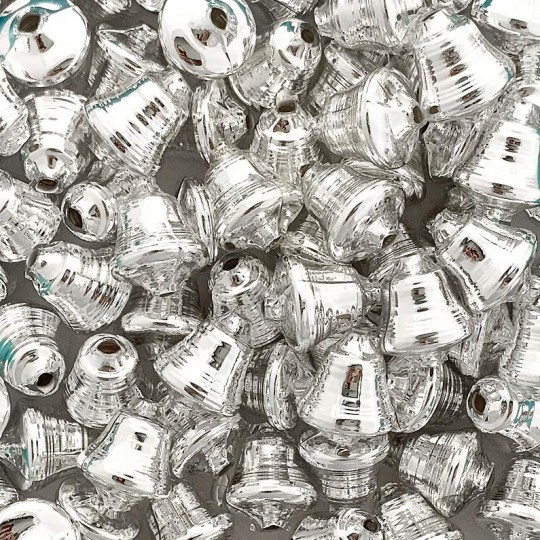 """3 Silver Bell Glass Beads 1"""" ~ Czech Republic"""