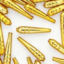 """3 Gold Long Drop Glass Beads 1.875""""  ~ Czech Republic"""
