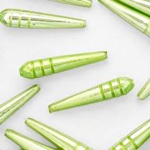 "3 Pearl Green Long Drop Glass Beads 1.875""  ~ Czech Republic"