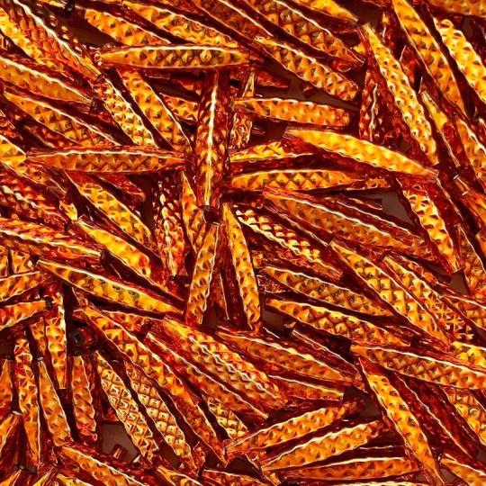 "5 Copper Orange Quilted Drop Blown Glass Beads 1.25"" ~ Czech Republic"
