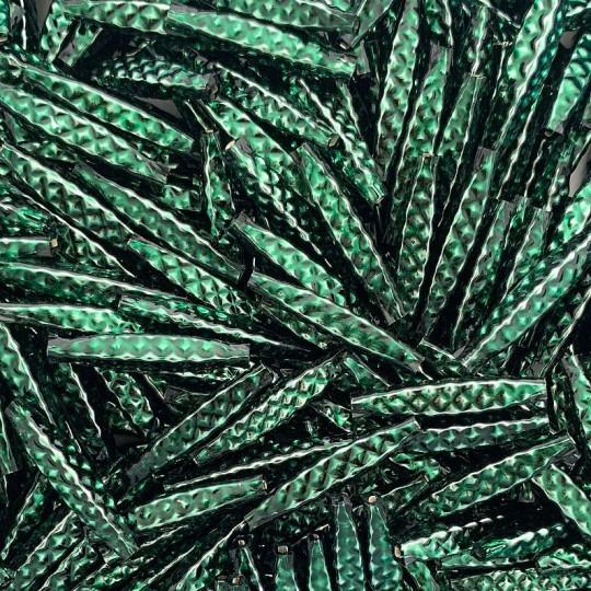 """5 Dark Green Quilted Drop Blown Glass Beads 1.25"""" ~ Czech Republic"""