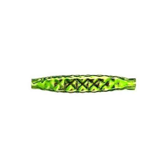 "5 Lime Green Quilted Drop Blown Glass Beads 1.25"" ~ Czech Republic"