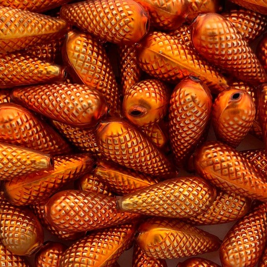 "3 Large Matte Orange Pine Cone Beads 1.75"" ~ Czech Republic"