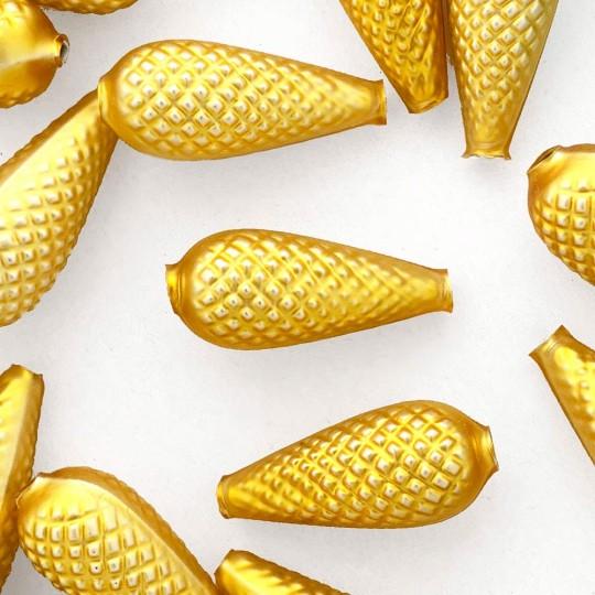 "2 Large Matte Yellow Pine Cone Beads 1.75"" ~ Czech Republic"