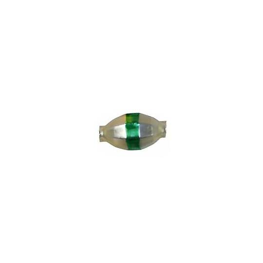 "6 Matte Champagne Barrel Beads with Green Stripe 7/8"" ~ Czech Republic"