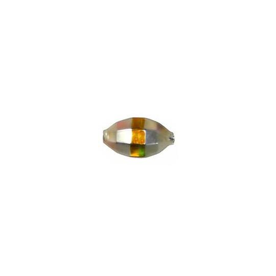 "6 Matte Champagne Barrel Beads with Gold Stripe 7/8"" ~ Czech Republic"