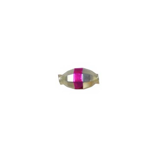 "6 Matte Champagne Barrel Beads with Hot Pink Stripe 7/8"" ~ Czech Republic"
