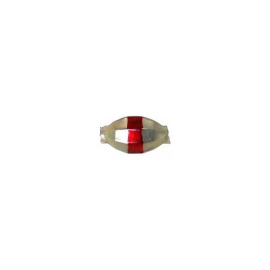 "6 Matte Champagne Barrel Beads with Red Stripe 7/8"" ~ Czech Republic"