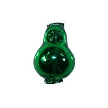 "3 Green Blown Glass Pear Beads 1-1/8"" ~ Czech Republic"