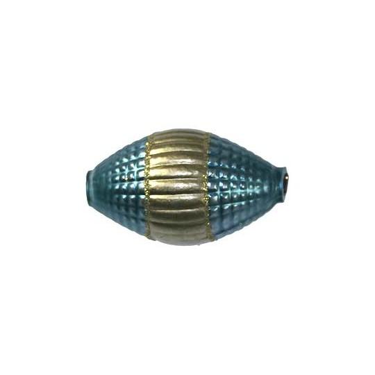 "2 Jumbo Blue and Gold Fantasy Barrel Beads 1-7/8"" ~ Czech Republic"