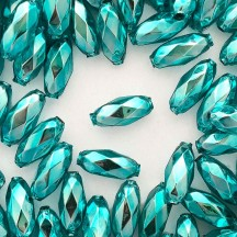"7 Aqua Faceted Beads 1"" ~ Czech Republic"