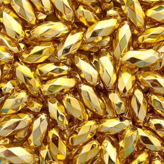 """7 Gold Faceted Beads 1"""" ~ Czech Republic"""