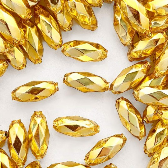 "7 Gold Faceted Beads 1"" ~ Czech Republic"
