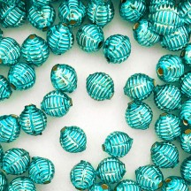"7 Aqua Fancy Ribbed Balls Blown Glass Beads .625"" ~ Czech Republic"